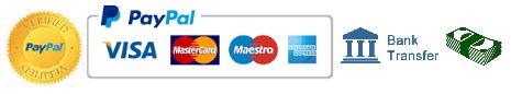 Retinning payment methods. Visa, mastercard, maestro, Amex, paypal, cash.