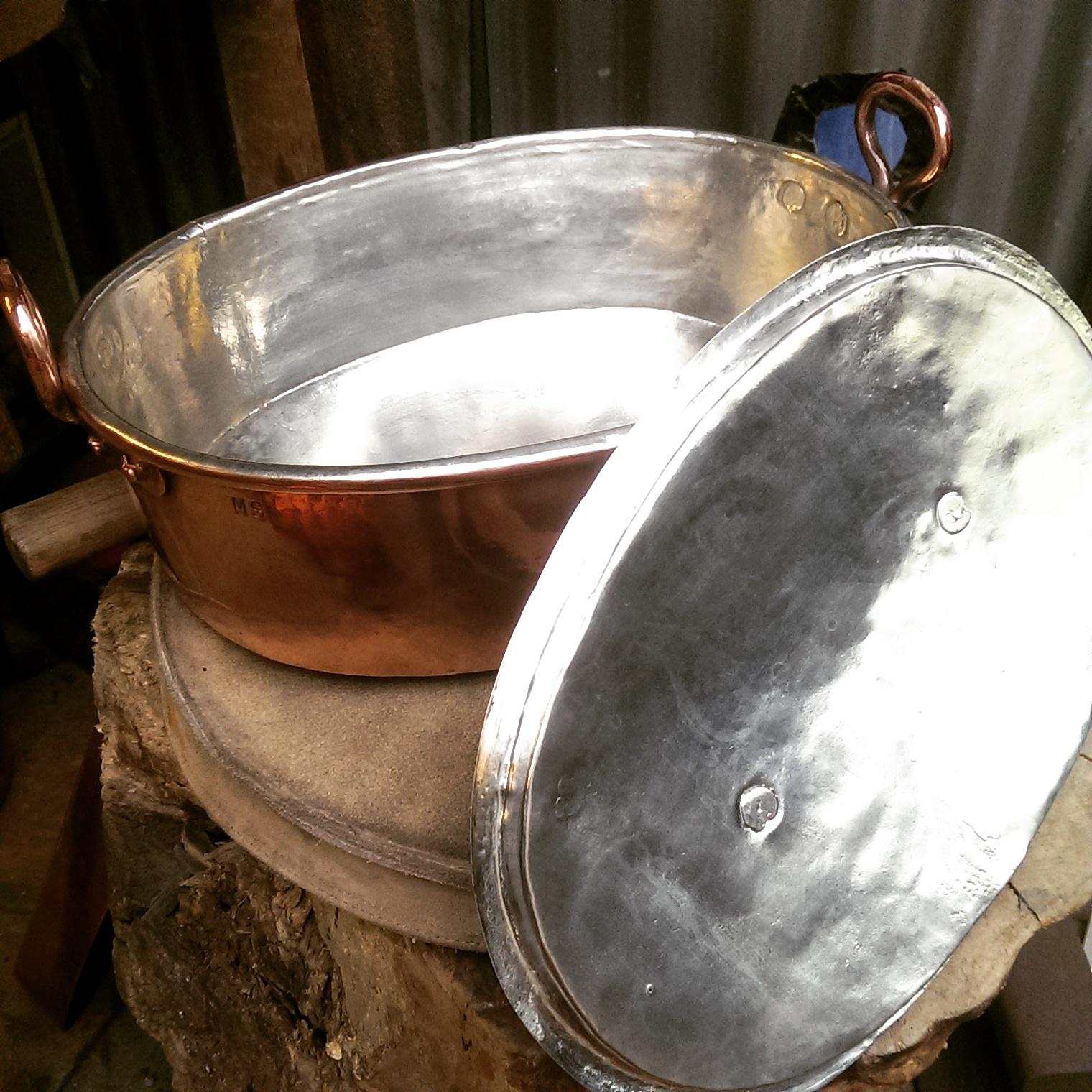 Retinning of a casserole pan.